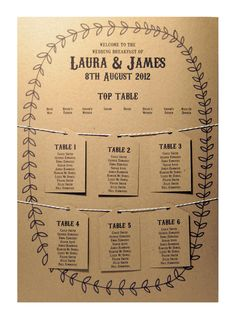 Vintage country garden wedding table plan idea