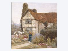 Old Manor House Canvas Print / Canvas Art by Helen Allingham Canvas Home, House Canvas, Country Wall Art, English Country Cottages, World Famous Artists, Cottage Art, Beach Landscape, Stretched Canvas Prints