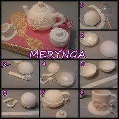 Making a Tea pot. Polymer Clay Miniatures, Polymer Clay Creations, Polymer Clay Crafts, Diy Clay, Barbie Miniatures, Teapot Cake, Doll House Crafts, Clay Food, Fondant Figures