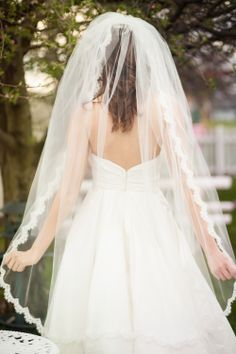 Fingertip length light and full Alencon lace wedding veil with blusher. Posted by UrbanVeilsCouture.etsy.com