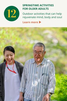 To help older adults welcome spring, we've compiled a dozen ideas for outdoor activities that can help rejuvenate mind, body and soul. #elderly #spring #activities Spring Activities, Outdoor Activities, Elderly Activities, Aging Parents, Body And Soul, Spring Time, You Can Do, First Love, Parenting
