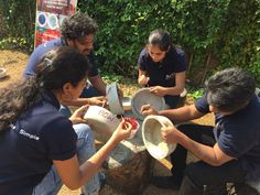 The Insol team painted the water bowls in attractive colors. The animals sure won't care how their bowls look, but we had fun doing it!