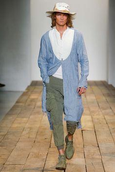 GREG LAUREN LOOK N°45 #inspiration #plunging #shirt #plungneck #denim #longshirt #ss2016