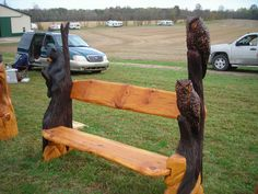 Chainsaw Carved Wood Benches | Napping Bear and Owls bench, sold but taking orders. :)