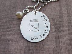 Hand Stamped Mason Jar Necklace Be Full Of Joy, Mason jar filled with hearts #etsylove #shopunique @etsy @klacustom