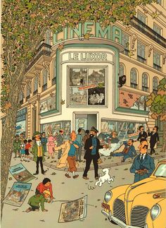 (illustration par -Artwork by/ Harry Edwood). Like it. Tintin all cast having an afternoon walk....