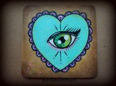 all seeing eye-third eye-heart-sacred heart-mini painting acrylic painting-wall art-home decor-gift idea-tattoo lover -tattoo style-artwork