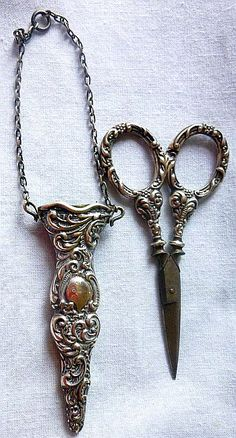 Victorian Sterling Silver (British Hallmark) Sewing Scissors & Case for Chatelaine