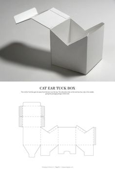 Cat Ear Tuck Box – structural packaging design dielines by lynne
