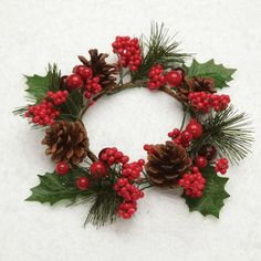 6 Artificial Pine, Red Berry and Pine Cone Christmas Pillar Candle Rings Best Candles, Pillar Candles, Christmas Wreaths, Christmas Decorations, Seasonal Decor, Holiday Decor, Candle Rings, Holly Berries, Pine Cones