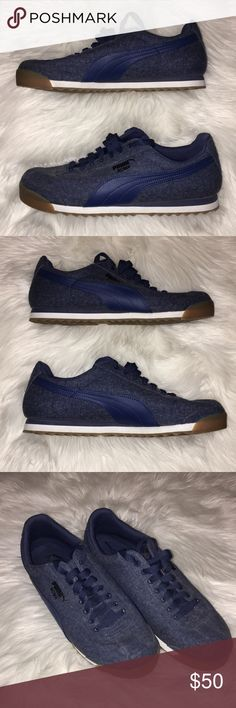 Puma Roma Denim Puma Roma Denim Gum, practically brand new, only wore 2-3 times, very comfortable and light weight Puma Shoes Sneakers