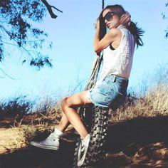 Shop this look on Kaleidoscope (shorts, shirt, sneakers, sunglasses)  http://kalei.do/WSzCBmTDLqjRXlSh