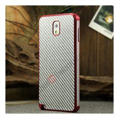 Aluminium Metal Bumper and Carbon fiber Protective back Case For Samsung Galaxy Note 3 N9000 - Red/Silver US$25.99