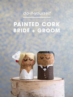 You HAVE To See These DIY, Painted Champagne Cork Bride + Groom! OMG, these DIY champagne cork bride and groom cake toppers are the cutest thing ever! Cork Wedding, Wedding Crafts, Diy Wedding, Wedding Day, Wedding Poses, Wedding Bride, Wedding Decorations, Wine Cork Art, Wine Cork Crafts