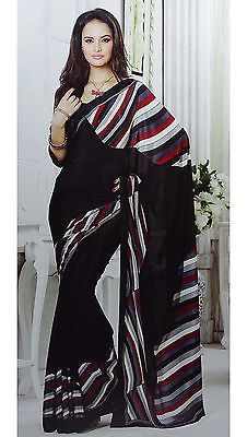 Elegant Unstitched Blouse Black Printed Saree Crepe Saris Latest Fashion Sari | eBay