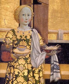 Maestro dell'Osservanza (Sano di Pietro?) - Natività di Maria (e altre scene della sua vita), dettaglio - tempera su tavola - 1437-1439 - Museo d'Arte Sacra, Asciano (Siena)