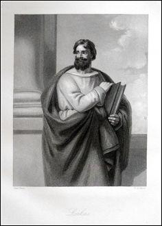 Lukas. Graphic : Steel Engraving / Stahlstich From : Apostelen en Profeten Size Picture : 15 x 21 cm Year : 1852 Verlag : P.H.Noordendorp-s'Gravenhage