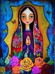 ¡Oh Madre mía de Guadalupe! Oh Señora mía Santísima, hija de Dios Padre, Virgen Purísima, gloriosa, dulce, bendita, no nos de... Mexican Artwork, Mexican Folk Art, Catholic Art, Religious Art, Santa Cartoon, Angel Artwork, Mexico Art, Holy Mary, Madonna And Child
