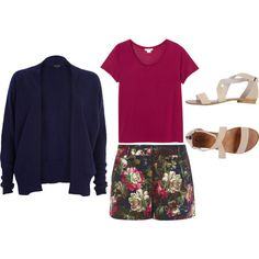"""Floral Shorts Outfit"" by yvon-tani-jackson on Polyvore"