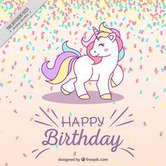 Fondo de cumpleaños con unicornio Vector Gratis