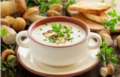 Use a mixture of fresh mushrooms, widely available at farmers' markets and supermarkets, for making this quick, woodsy-tasting soup. Mushroom Cream Soup, Wild Mushroom Soup, Wild Mushrooms, Creamed Mushrooms, Stuffed Mushrooms, Stuffed Peppers, Mango Avocado Salsa, Stir Fry Onions, Fried Onions