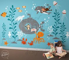 Underwater World ,Ocean Wall decals , Monkey, Octopus, submarine , crab, kids, Dolphin wall decal Wall Sticker- dd105