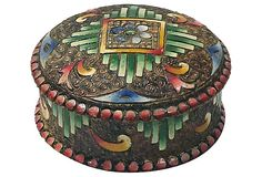 """German Art Deco round geometric design pyrography treenware cuff link box. Treen, literally """"of a tree"""" is a generic name for small handmade functional household objects made of wood. Pyrography is the art of decorating with burn marks resulting from the controlled application of a heated metal object. The term means """"writing with fire"""", from the Greek pur (fire) and graphos (writing). After the design is burned in, wooden objects are often coloured."""