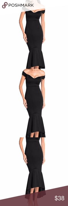 Black Off-shoulder Mermaid Jersey Evening Dress The gorgeous Off-shoulder Mermaid Evening Dress is characterized by a beautiful party jersey fabric that dips high in the front and low  in the back to create some beautiful truffle train, sweetheart neck, off-shoulder design and finished with body-hugging fit.  60171-102 Dresses Asymmetrical