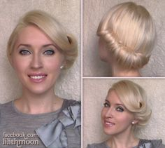 Rolled updo hairstyle with a retro twist for medium length hair http://www.youtube.com/watch?v=8jprlex0HjI