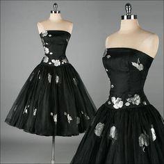 Vintage 1950s Dress  Metallic Floral  Black by millstreetvintage, $285.00