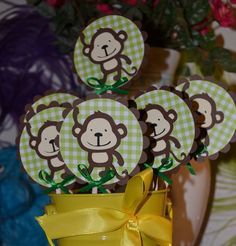 Monkey / Monkeys Safari, Jungle, Zoo Themed CupCake Toppers You can customize the background and ribbon colors (Set of 12)
