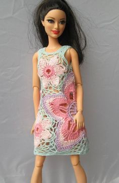 BARBIE HANDMADE CROCHET MULTICOLOR PATIO DRESS/COVER UP/TUNIC