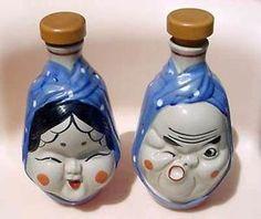 2 VTG Japanese Otafuku and Hyotoko Sake Bottle Set Pair Happy Lady Drunk Man !