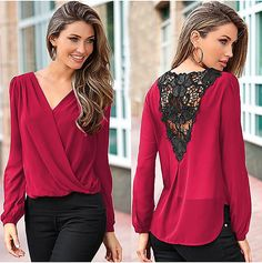 Women Chiffon Blouse 2016 Fashion Sexy V-neck Lace Crochet Hollow Backless Tops Casual Loose Long Sleeve Shirt Women's Summer Fashion, New Fashion, Fashion Women, Style Fashion, Fashion Fabric, Fashion Brand, Trendy Fashion, Chiffon Shirt, Chiffon Tops