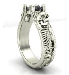 Bent Skeleton Skull Engagement Ring