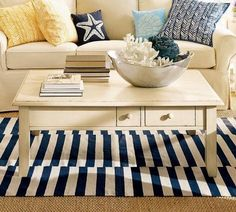 I want a nautical room in my house. I love the blue stripes and accent pillows