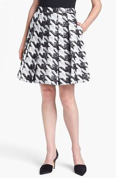 Pink Tartan Houndstooth Jacquard Pleat Skirt - I love the shape of this skirt. Not too crazy about the print.