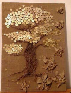 Create and Decorate: 17 Spectacular DIY Kids Tea Party Ideas Coin Crafts, Diy And Crafts, Arts And Crafts, Coin Display, Coin Art, Money Trees, Unique Wall Decor, Arte Floral, Button Art