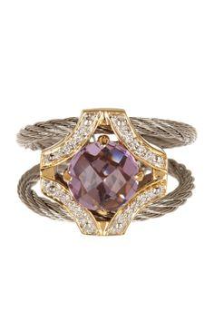 18K Yellow Gold & Stainless Steel Amethyst Diamond Ring - 0.05 ctw