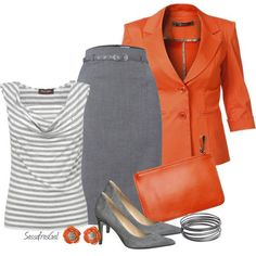 Work Outfit: pencil skirt, untucked blouse style, blazer - plus love these colors