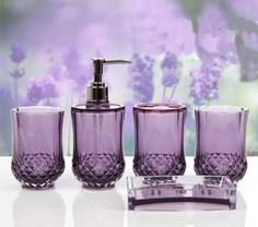 HQdeal Set Acrylic Bathroom Accessories Bathroom Set Glamarous Purple **  For More Information, Visit Image Link.