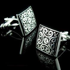 Vintage Silver Flower Pattern Cufflinks