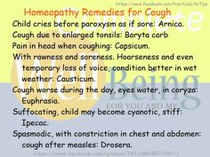 Practical Life Tips For You And Me: #Homeopathy #Remedies for #Cough
