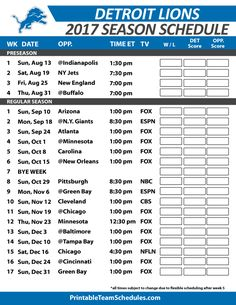 Detroit Lions Football Schedule 2017