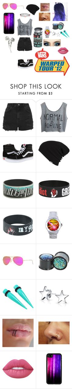 """Warped Tour"" by skatergurl58 ❤ liked on Polyvore featuring Topshop, Vans, Hot Topic, Ray-Ban, Bling Jewelry and Lime Crime"