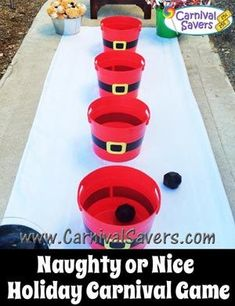 Holiday Fest 2015 - Snowball Bucket Toss instead of this version. Same concept! This is cute though. Christmas Fun for Kids - DIY Naughty or Nice Holiday Game #christmasgamesforkids