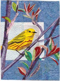 Yellow Warbler quilt, art by Brenda Yirsa