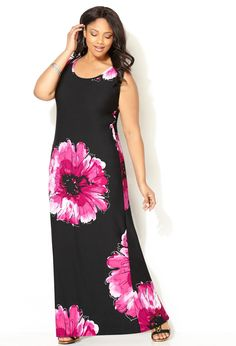 Fuchsia Floral Print Maxi Dress-Plus Size Maxi Dress-Avenue