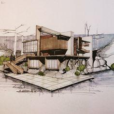 """Gefällt 4,728 Mal, 13 Kommentare -  Art & Architecture Magazine (@modern.architect) auf Instagram: """"Beautiful #sketch by @meghdad.maheri ..."""""""