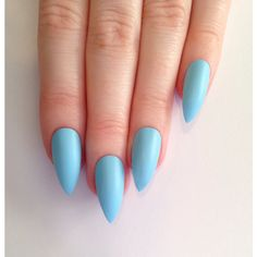 Matte Baby Blue Stiletto nails, Nail designs, Nail art, Nails,... ($18) ❤ liked on Polyvore featuring nails and makeup